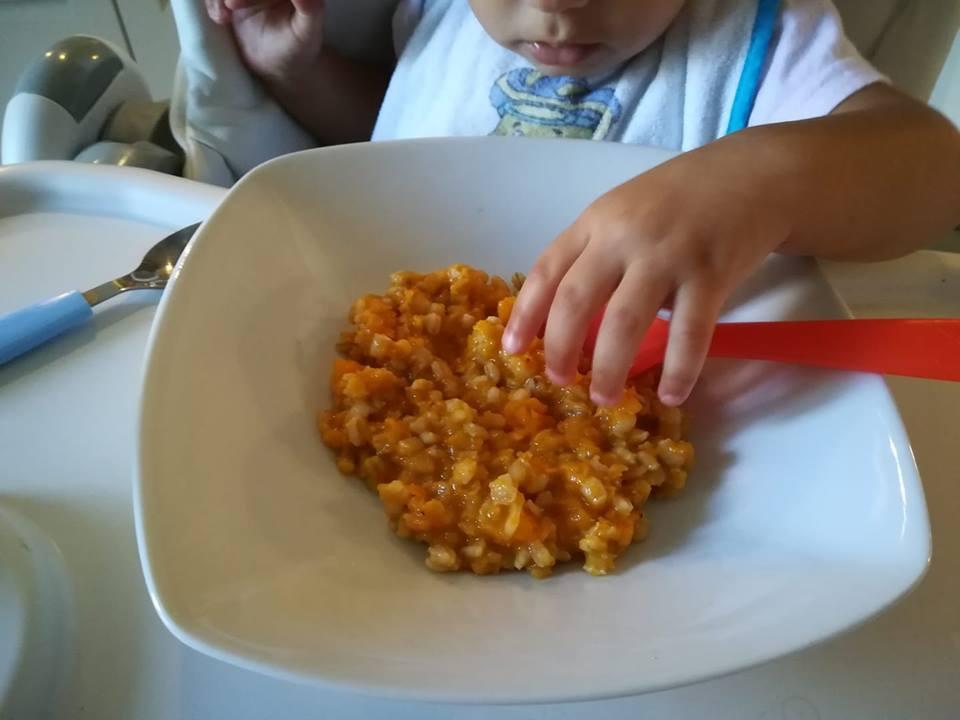 Orzotto con zucca, porri e lenticchie rosse